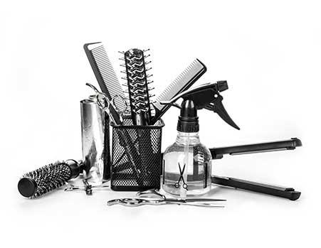 Haare schneiden Friseur-Utensilien
